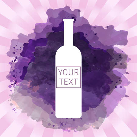 tasting: Wine tasting card with your text, with white bottle over a pink splash painted background. Digital vector image.