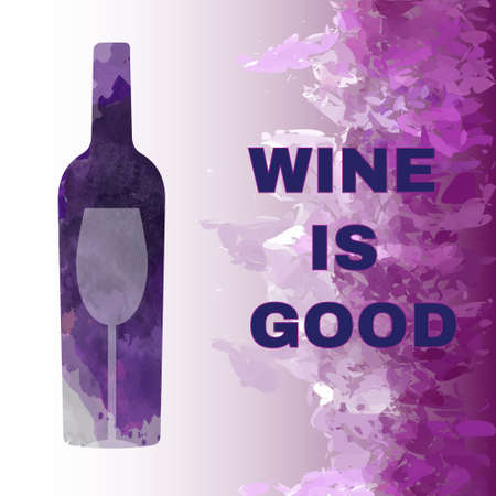 colored bottle: Wine is good tasting card, with colored bottle and a glass over a splash painted background. Digital vector image. Illustration