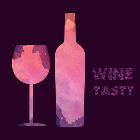 burgundy background: Wine tasting card, with colored bottle and a glass over a burgundy background. Digital vector image.