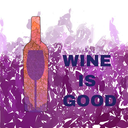 colored bottle: Wine tasting card, with colored bottle and a glass over a dark pink background. Digital vector image. Illustration