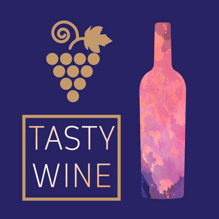 colored bottle: Wine tasting card, with colored bottle and grape over a dark blue background. Digital vector image. Illustration