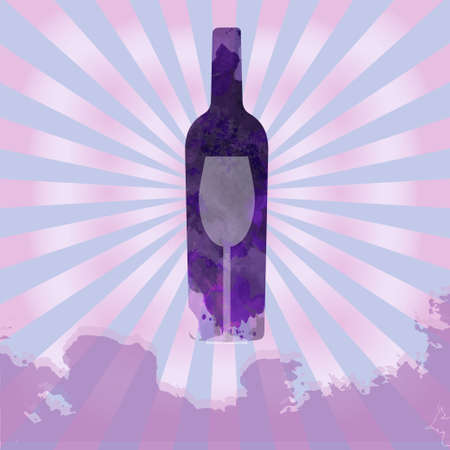 colored bottle: Wine tasting card, with colored bottle and a glass over a splash painted background. Illustration