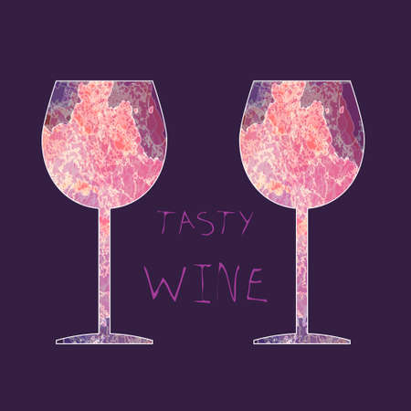wine background: Wine tasting card, with colored glasses over a dark pink background.