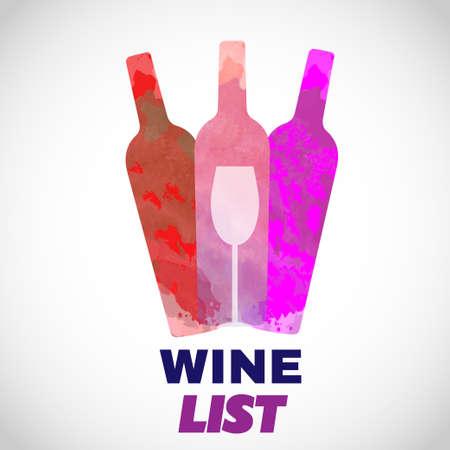 Vin carte de dégustation, avec des bouteilles de couleur et un verre sur un fond blanc.
