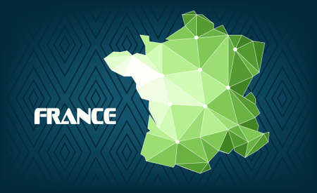 France country map design with green and white triangles over dark blue background with squares. Digital vector image Illustration