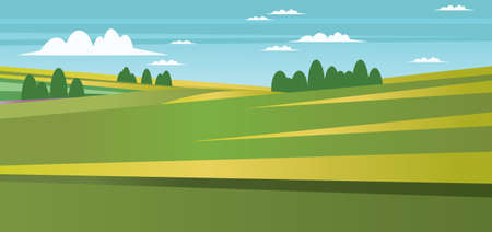 green fields: Abstract landscape with green fields, trees and clouds. Digital vector image