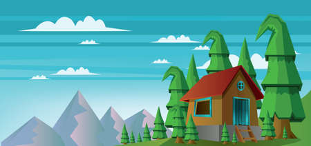 ridge: Abstract landscape with a house in the forest and mountains with white clouds. Digital vector image