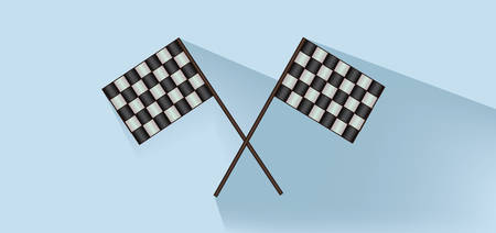 Rally flags over white blue background, flat style. Digital image vector