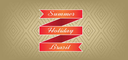 brasil: Summer, holiday, Brasil card with red ribbon over brown background with rectangles, in outlines. Digital vector image