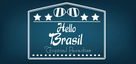 brasilia: Hello Brasil card with stars and sunglasses over dark blue background, in outlines. Digital vector image
