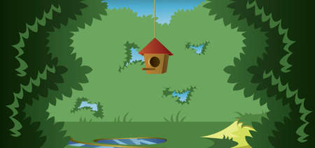 rolling landscape: Abstract landscape with a cage for birds in a meadow in the forest. Digital vector image