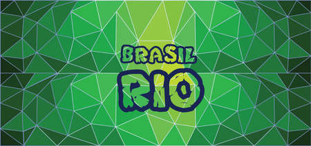 polygraph: Brasil, rio card with text over green background with abstract triangles. Illustration
