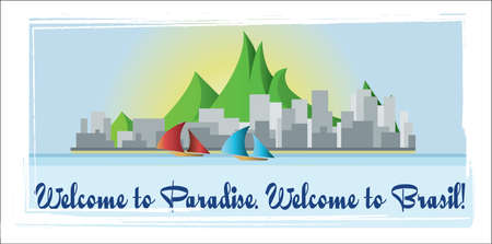 brasilia: Welcome to Brasil paradise card with mountains, boats and city view over white background, in outlines. Digital vector image