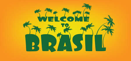 brasil: Welcome to brasil card with palm trees over orange background, in outlines. Digital vector image Illustration