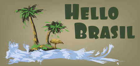 brasilia: Hello brasil card with palm trees and water design over brown background, in outlines. Digital vector image