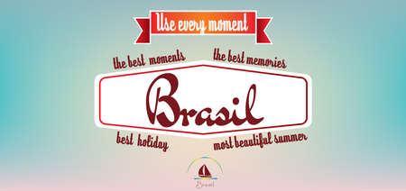 pastel colored: Brasil best holiday card over pastel colored background, in outlines. Digital vector image