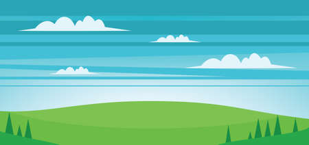 smoky mountains: Abstract landscape with green fields, trees and clouds. Digital vector image