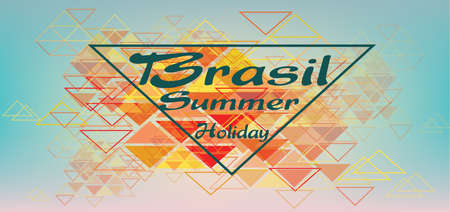 brasil: Brasil summer holiday card with triangles over pastel colored background, in outlines. Digital vector image Illustration