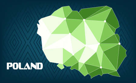 Poland country map design with green and white triangles over dark blue background with squares. Digital vector image