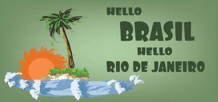brasilia: Hello brasil card with palm trees, sun and water design over green background, in outlines. Digital vector image