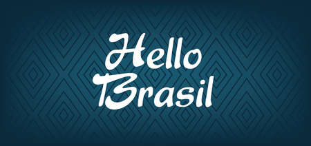 brasil: Hello Brasil card over dark blue background with triangles, in outlines. Digital vector image