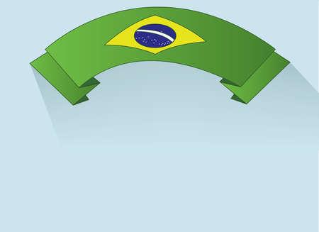 green ribbon: Flag of Brasil design on green ribbon. Digital vector image Illustration