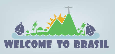 janeiro: Welcome to brasil card with sun, boat and palm trees over silver background, in outlines. Digital vector image Illustration