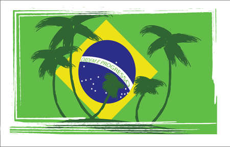brasil: Flag of Brasil design with hand drawn palm trees. Digital vector image