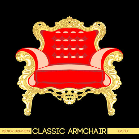 home theater: Red and yellow classic armchair over dark background. Digital vector image