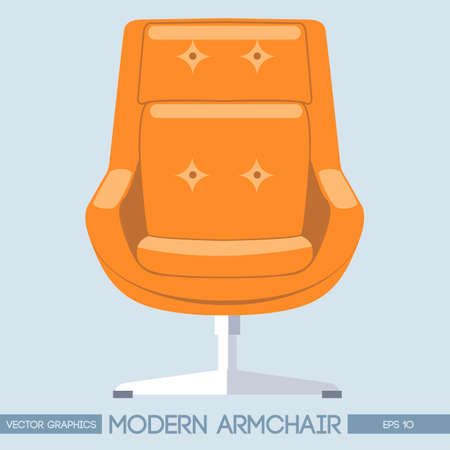 armchair: Orange modern armchair over light background. Digital vector image