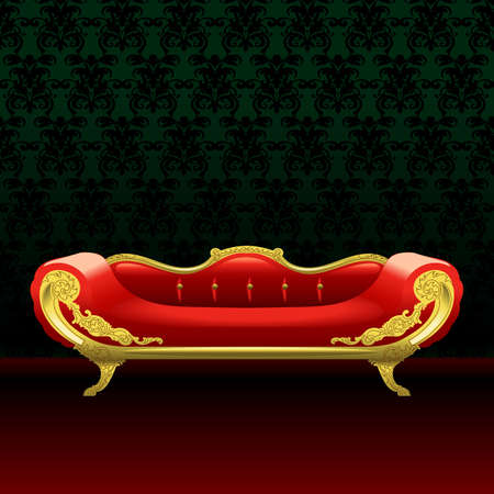 red bed: Royal red bed, flat style over green background. Digital vector image