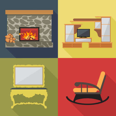 home decoration: Fireplace home decoration icon set, flat style. Digital vector image