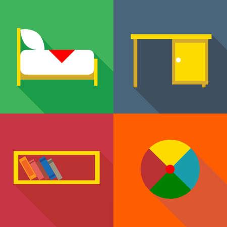chest of drawers: Furniture set, in outlines. Digital vector image Illustration