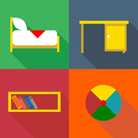 Furniture set, in outlines. Digital vector image Illustration