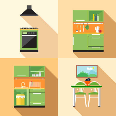 home decoration: Kitchen home decoration set, flat style. Digital vector image