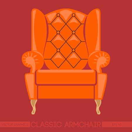 home theater: Orange classic armchair over red background. Digital vector image