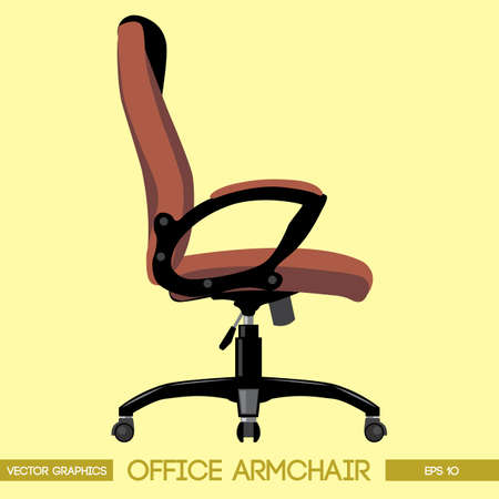 Black and brown modern office armchair over yellow background. Digital vector image