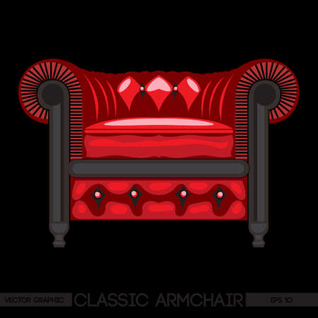 Red classic armchair over black background. Digital vector image