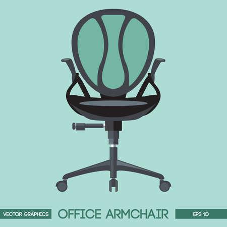 Black modern office armchair over green background. Digital vector image