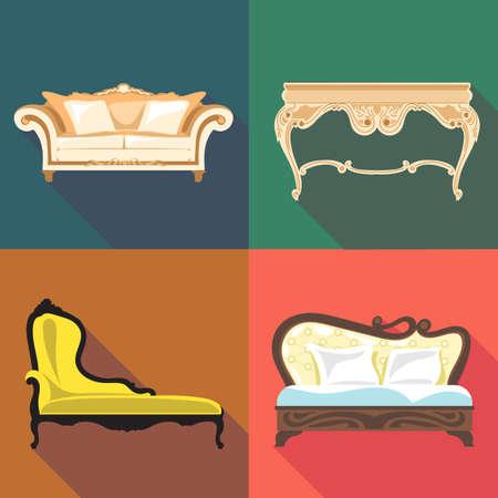 headboard: Bedroom home decoration icon set, flat style. Digital vector image Illustration