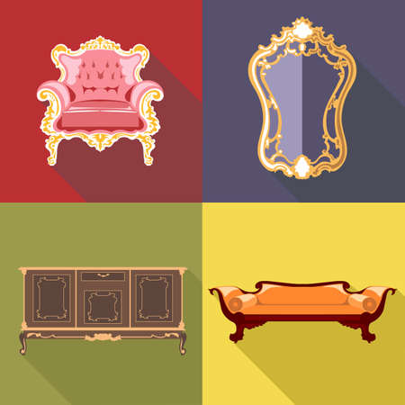 Living room home decoration icon set, flat style. Digital vector image