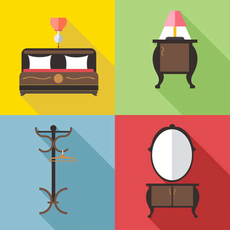 chest of drawers: Furniture set with mirror, in outlines. Digital vector image Illustration