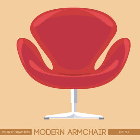Red modern armchair over peach background. Digital vector image Illustration