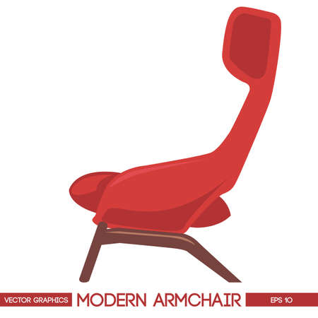 modern chair: Red modern armchair over white background. Digital vector image