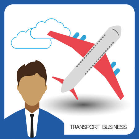 Transport business with a person and plane, flat design. Digital vector image