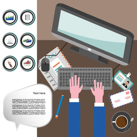 typing on keyboard: Business infographic with icons, computer and typing keyboard, flat design. Digital vector image