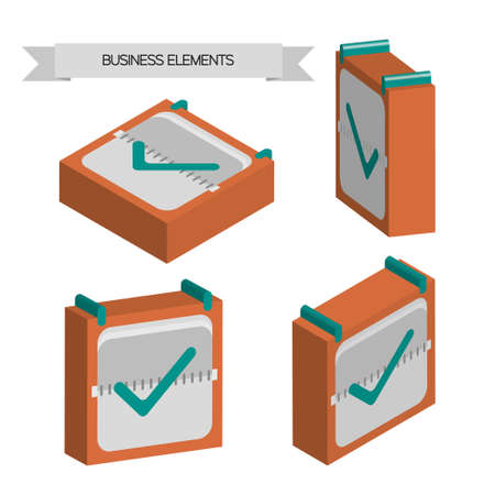 Business elements with 3d check sqaures, flat design. Digital vector image Illustration