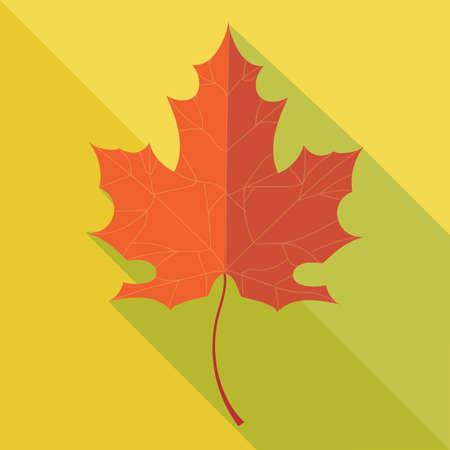 hoja de roble de color naranja en otoño sobre fondo amarillo.