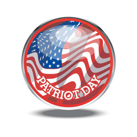 silver circle: Patriot day card with the flag of unites states of america in a silver circle. Illustration