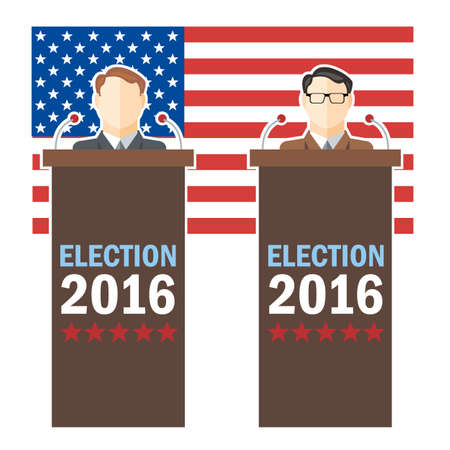 candidates: Usa 2016 election card with country flag and candidates character at the tribune. Digital vector image